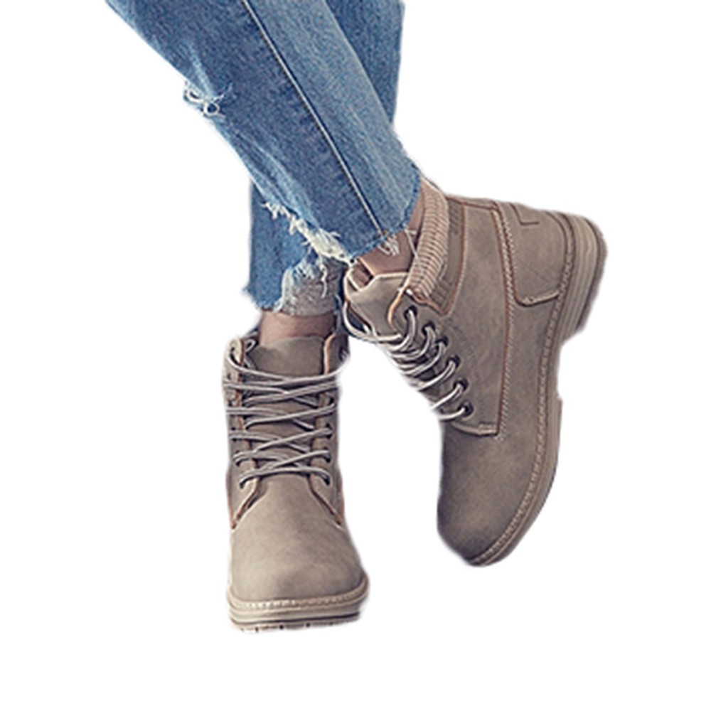 Women Boots Solid Lace Up Casual Ankle Boots Round Toe Shoes Student Snow Boots Classic Winter Warm Ladies Shoes T## 18