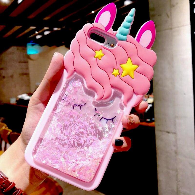 3D Unicorn Silicone Liquid Glitter Stars Case For Xiaomi Mi A1 A2 5X 6X 8 SE 2S Mi Redmi 4A Note 4 4X Note 5 5 Pro 5A Prime Case
