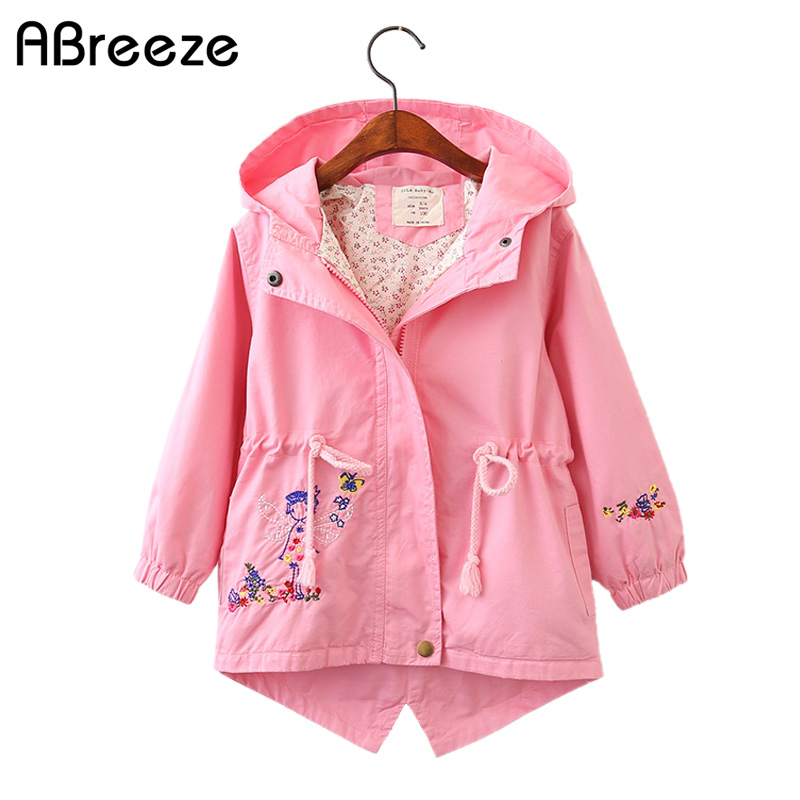 2018 Autumn Flower Embroidered girls top clothing cotton hooded children   trench   for girls color red green jackets girls