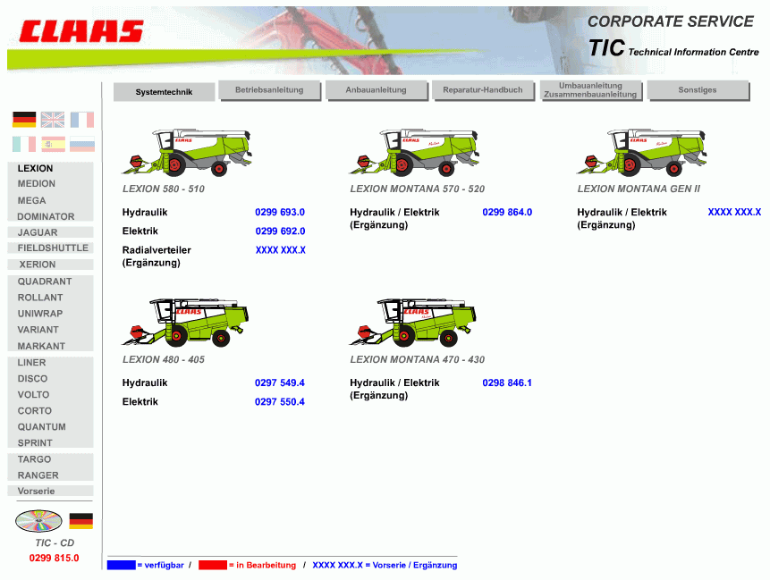 Claas BIG TIC Technical Information