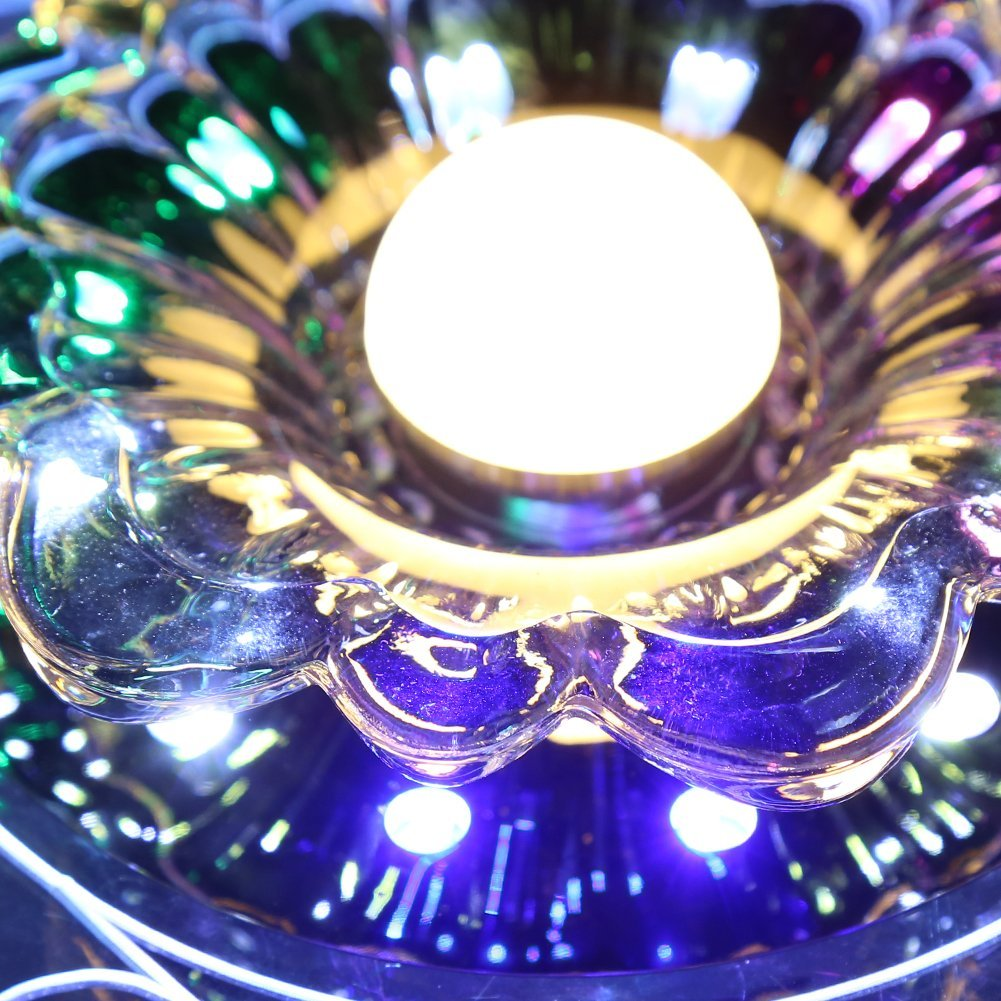 High Quality 3W LED Crystal Lotus Ceiling Light Flush Lamp Main Warm Light Auxiliary Colorful Light