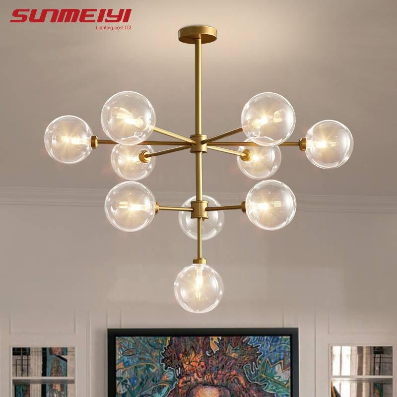 Minimalist Gold LED Chandeliers For Cafe Living room Restaurant Suspension Luminaire Vintage Home decor Lamparas De