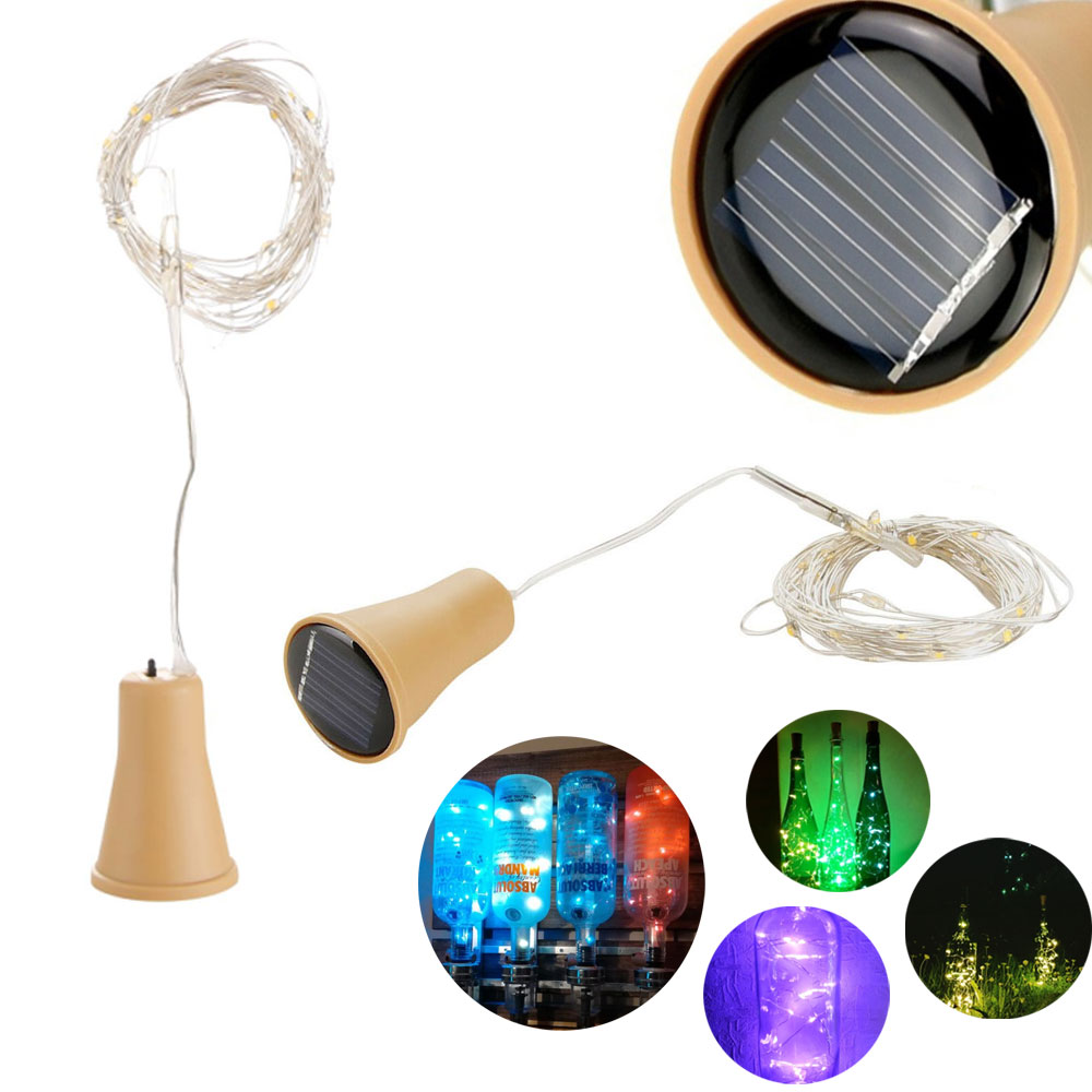 2M 20LEDs Solar Cork Shaped LED String Light Copper Wire String Holiday Outdoor Waterproof Fairy Lights For Party Wedding Decor