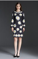 Free Shipping 2016 AW Black O Neck Long Sleeves Daisy Mini Women Dresses Sexy Bodycon Evening