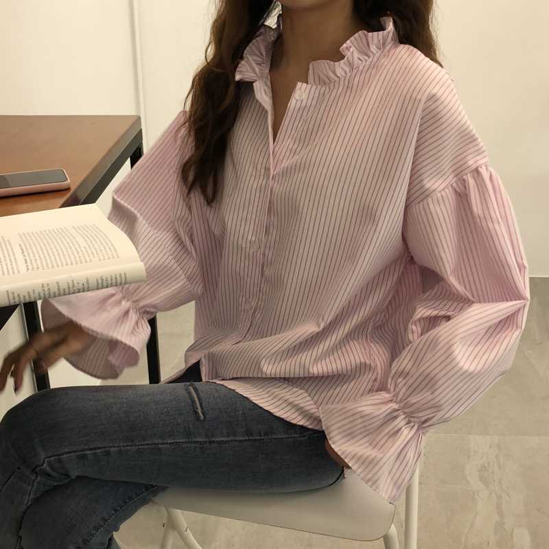Women   Shirts   Flare Full Sleeve Striped Stand Neck Fungus And Small Vertical   Blouse     Shirt   Black Pink 772