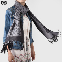 Brand New Arrival 7 Color Cotton Scarf Fashion Designer Scarves Classic Letter Oversize Scarfs With Tassel JB007