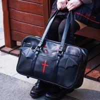Anime Little Devil Japanese Harajuku Cosplay JK Uniform Handbag Totes Shoulder Bag PU Black Portable School Book Bag Students