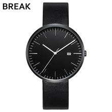 BREAK 2016 men unisex stainless steel genuine leather strap minimalist fashion casual business dress quartz watches