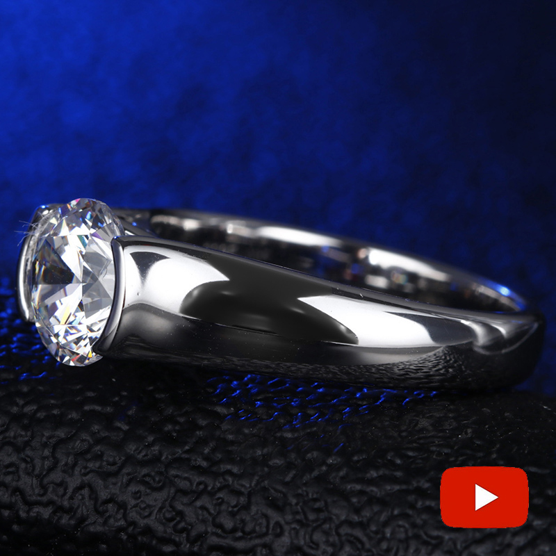 Round Cut 8MM Fine Engraving Ring S925 Sterling silver Diamond Solitaire ring Original Design 925 round