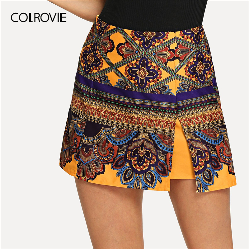 COLROVIE Geometric Print Split Hem Floral Tribal Beach Boho   Shorts   Women 2019 Summer Vacation Zipper Fly Casual Ladies   Shorts