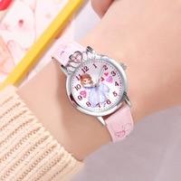 Disney brand children girl wristwatches quartz leather waterproof child watch Cartoon anime pink red