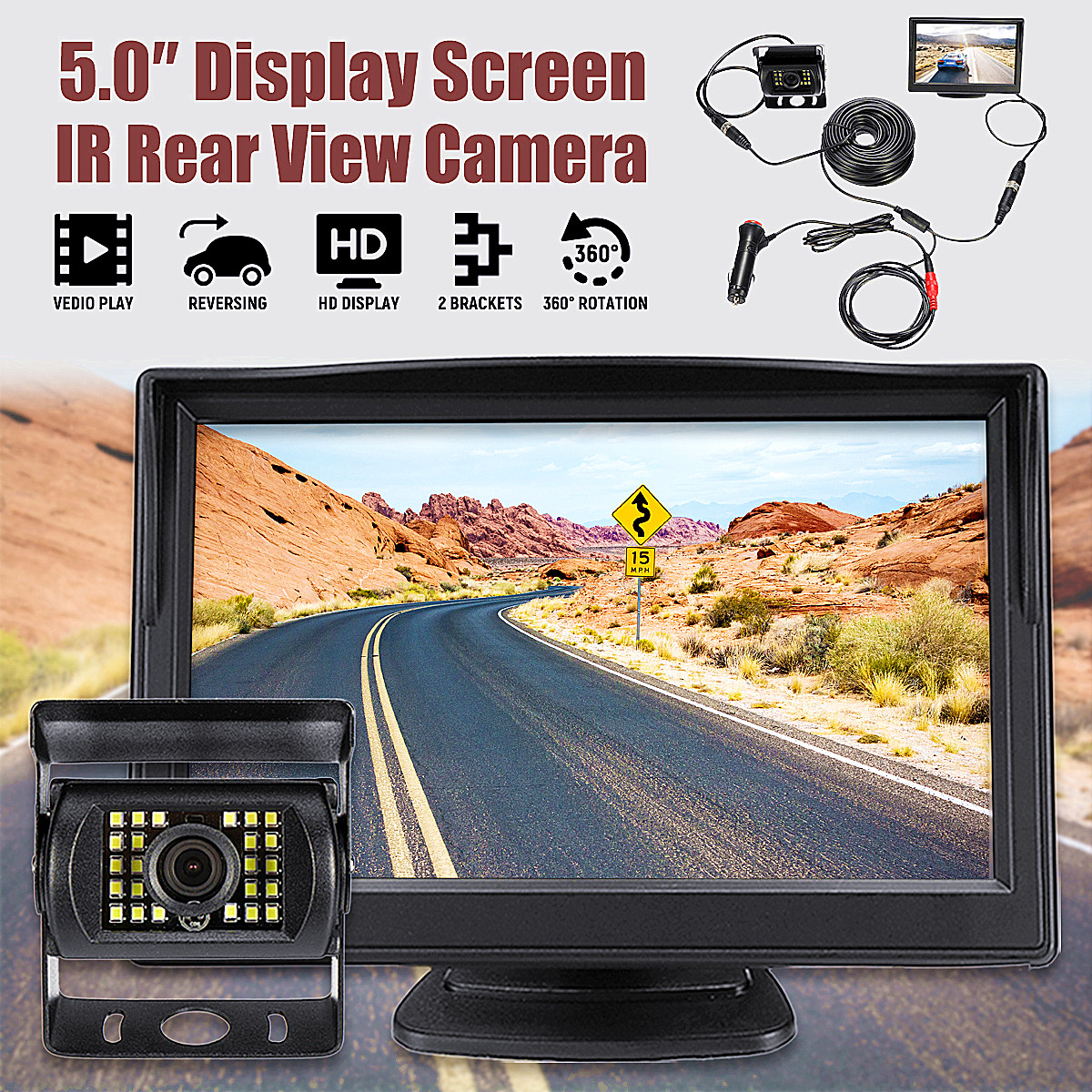 5 Inch 12~24V Universal Car Camera LCD Computer Reverse Monitor IR Wireless Car Rear View Backup Reversing Camera Kit цена