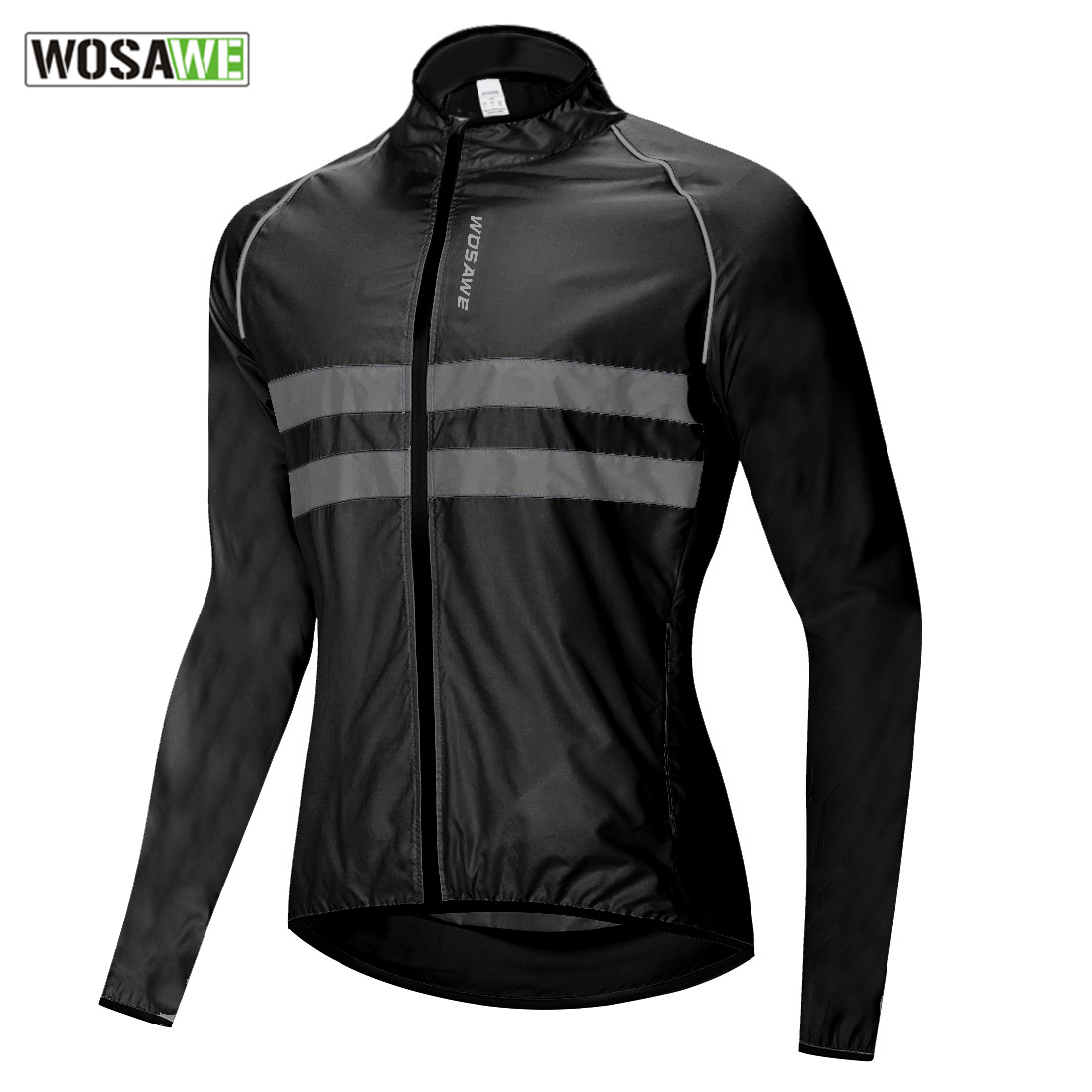 WOSAWE Ultralight Reflective Men's Cycling Jacket Long Waterproof Windproof Road Mountain Bike MTB Jackets Bicycle Windbreaker