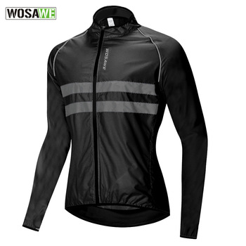 WOSAWE Ultralight Reflective Men's Cycling Jacket Long Waterproof Windproof Road Mountain Bike MTB Jackets Bicycle Windbreaker wosawe cycling windbreaker jacket cycling motocross riding outwear lightweight waterproof coat mtb bike jersey reflective coat