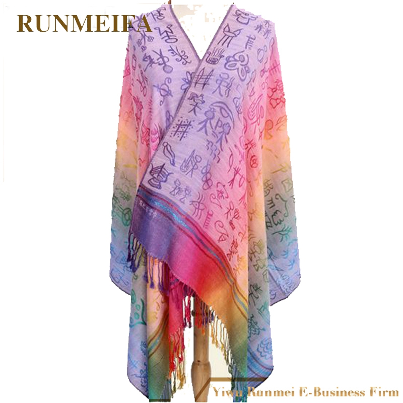 RUNMEIFA New Winter Ethnic Women   Wrap     Scarf   Large Size Gradient Cape Rose Pattern Printed Tippet Clothing accessory Scarve