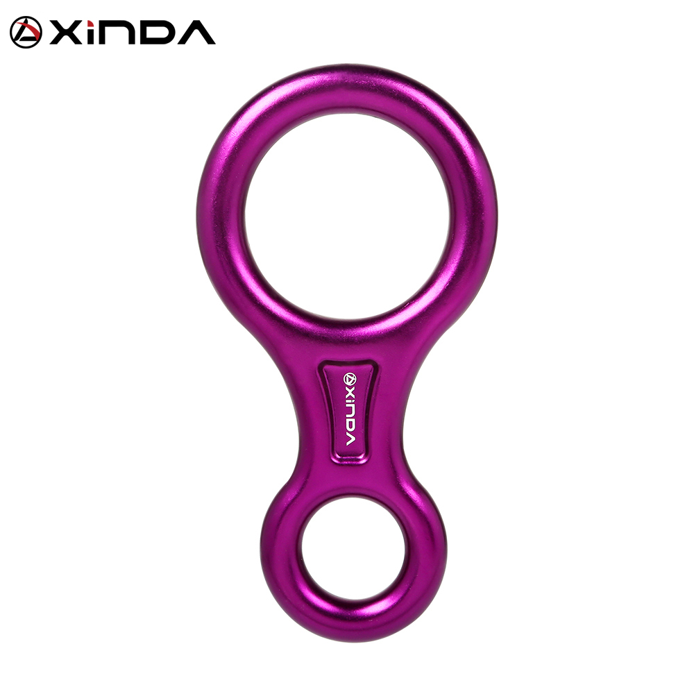 XINDA Rock Climbing Carabine 8shape Rigging Descender Aluminum Figure Belay Device Abseiling 35KN Eight Ring Downhill Equipment