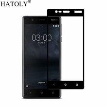 1 sztuk szkło hartowane dla Nokia 3 Screen Protector dla Nokia 3 pełna pokrywa dla Nokia 3 TA 1020 TA 1032 3D zakrzywione krawędzi Film HATOLY