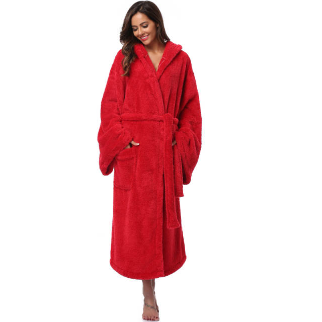 2d0454d50b Online Shop Winter Thick Warm Women Robes 2018 Coral Fleece Sleepwear Long  Robe Woman Hotel Spa Plush Long Hooded Bathrobe Nightgown Kimono