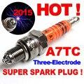 Três-eletrodo Desempenho A7TC Spark Plug A7TJC Moto 50cc 70cc 110cc 125cc 150cc ATV Dirtbike Ciclomotor Scooter