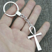 Keyring 52x28mm Ankh Cross 2 Colors Antique Bronze Silver Color Men Jewelry Car Key Chain Ring Holder Souvenir Gift