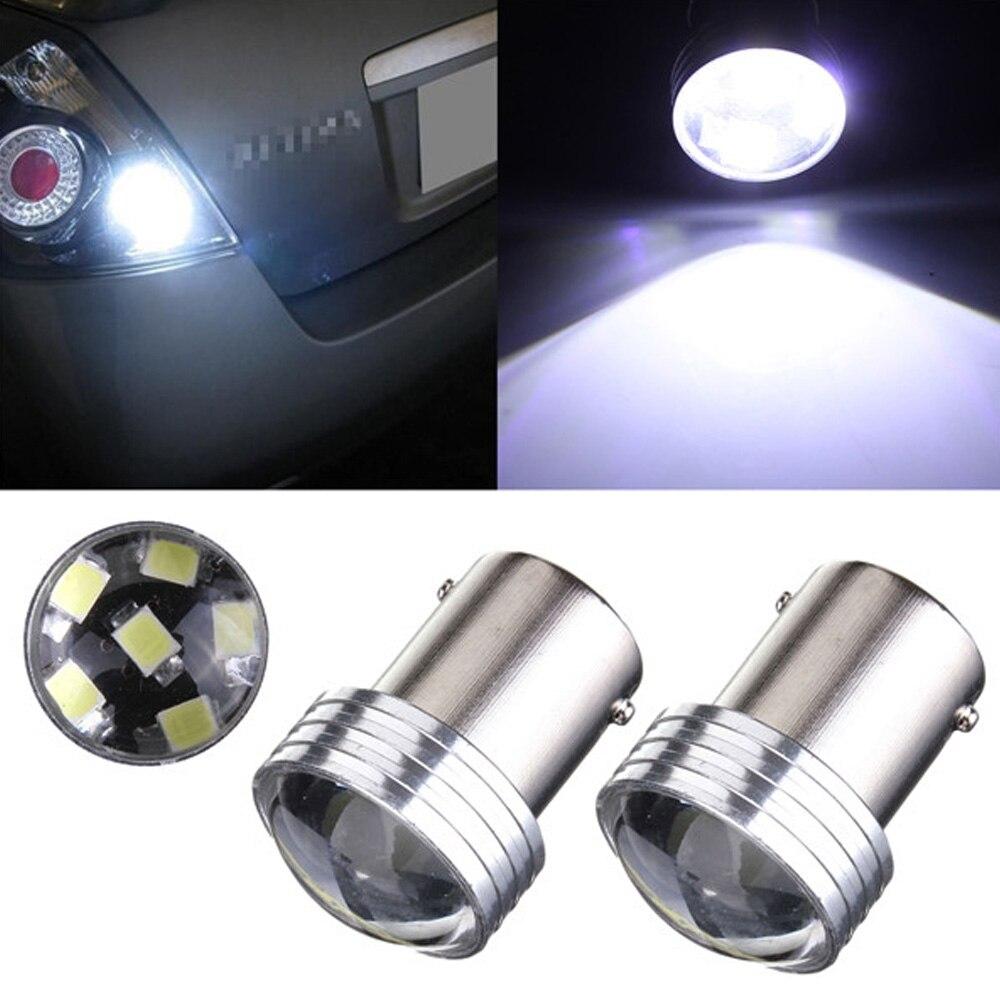 2 Pcs DC 12V 21W 1156-2835-6SMD COB LED Bulb Projector Car Auto Light Source Backup Reversing Bulb White 6000K Parking Lamp