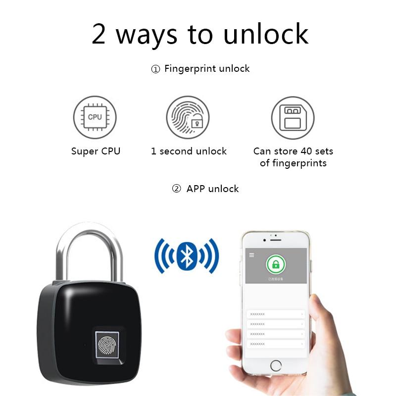Cadenas d'empreinte digitale nouvellement intelligent Bluetooth serrure d'empreinte digitale antivol sans clé pour casier de valise MK