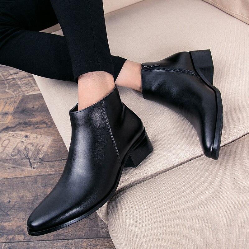 Hommes bottines de haute qualité confortable noir mariage robe formelle chaussures hommes d'affaires - 5