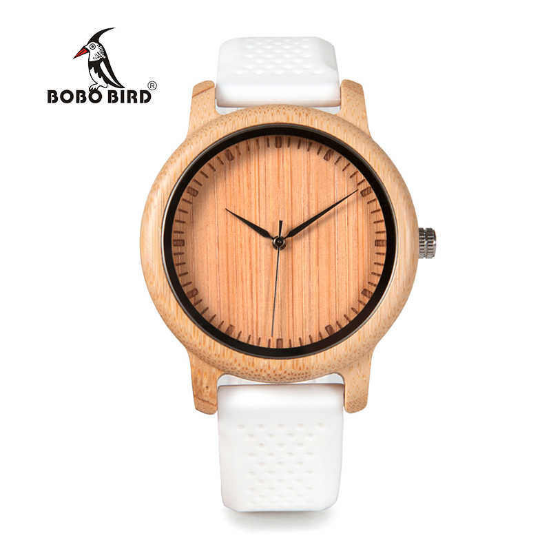 Zegarek drewniany Bobo Bird Color Silikon White B07 4