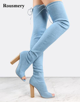 New Design Women Fashion Open Toe Bandage Slim Style Over Knee Thick Heel Boots Sexy Cut-out Super High Heel Boots Dress Shoes
