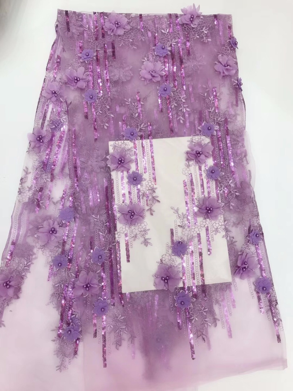 African French Net lilac Lace Fabric with Beads High Quality African Lace Fabric with 3d Flowers 5yards lace fabricAfrican French Net lilac Lace Fabric with Beads High Quality African Lace Fabric with 3d Flowers 5yards lace fabric