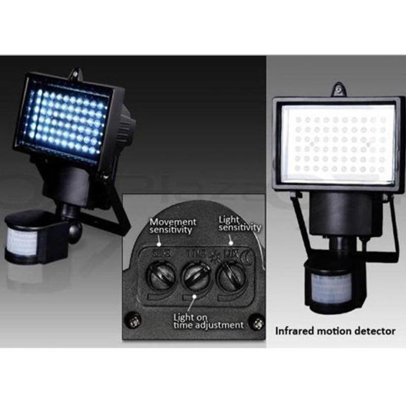 60LED Solar Sensor Light 10W Garage Lights Aluminum
