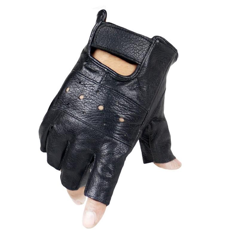 Men Slip-resistant Leather Sheep Moto Leather Fingerless Gloves Half Finger High Quality Luvas Driving Training Fitness Guantes