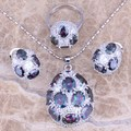 Very Good Rainbow Mystic White CZ Silver Jewelry Sets Earrings Pendant Ring Size 8 / 9  S0244