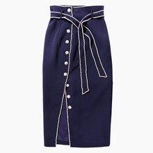 DEAT, новинка, летняя модная женская одежда, широкий пояс, однобортная длинная юбка средней длины, темно-синий цвет, WG89205L