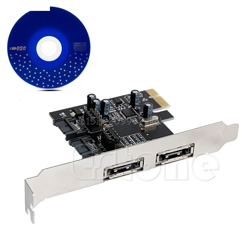 PCI-E To SATA 3.0 6Gbps ESATA SATA III 2-Port Card Converter Adapter #H029# 2 port esata 2 port sata pci e express expansion card