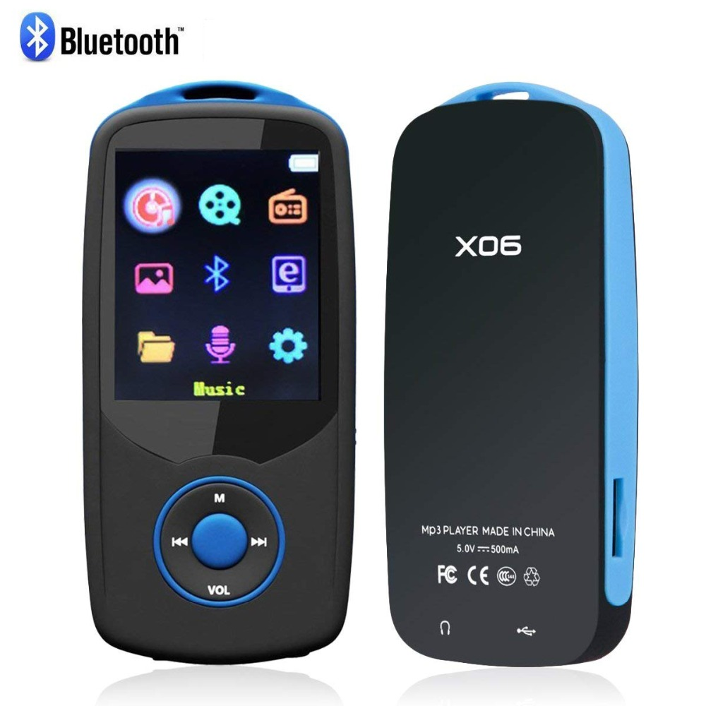 Portable New Bluetooth4.0 MP3 Music Player 8GB Original RUIZU X06 with 1.8inch Color Menu Screen with FM Radio, Voice Recorder new degen de1126 shortwave dsp am mini fm radio ducha with 4gb mp3 player voice recorder screen rechargeable battery pack