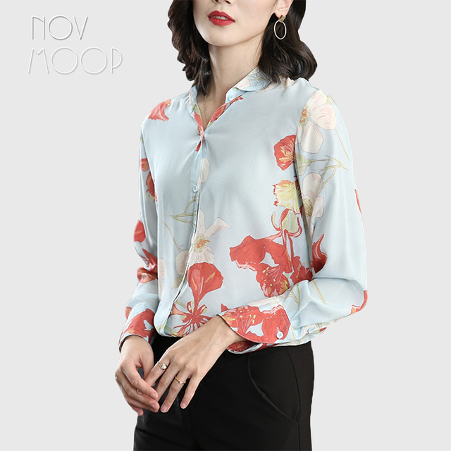 47cf5d3bbe1736 Office style ladies pure natural silk tops blouse pink floral print light  blue silk shirt roupa