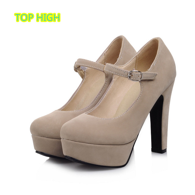 Young Russian Woman Spring Shoes New Hot Stylish Mary Janes Style Thick High Heels Women Pumps Platform Shoe Zapatos Mujer Size