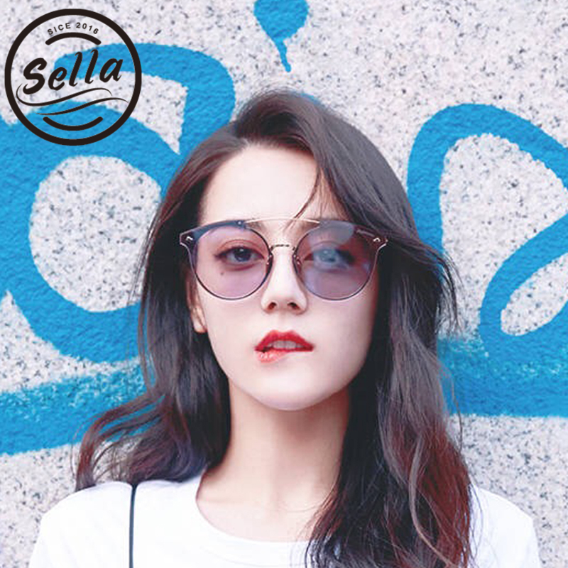 Sella 2018 New Fashion Women Oversized Cateye Tint Lens Sunglasses Alloy Frame Candy Color Mirror Coating Brand Sun Glasses