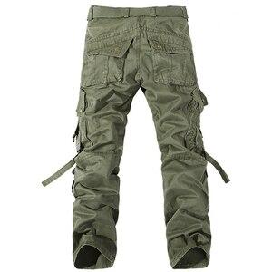 Image 2 - Pantalones Cargo Casual para hombre 2020, pantalones de algodón con bolsillos grandes, pantalones militares holgados, pantalones largos para hombre 28 42 de talla grande