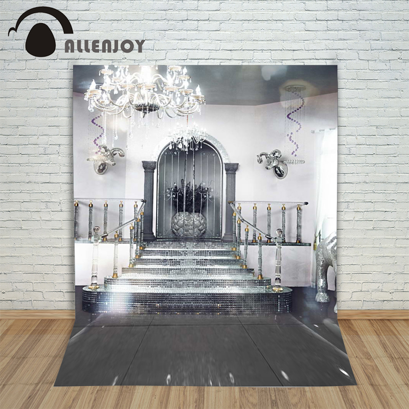 10ftx6.5ft Allenjoy Photography Backdrop silver stairs palace door dream wedding photography background for photography studio allenjoy photography backdrop spotted