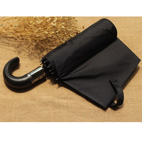 Leather Handle 10 Rib Strong Automatic Umbrellas Wind Resistant Men Black Three Folding Umbrella Rain
