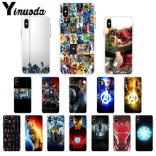 Yinuoda Marvel Avengers Iron Man Transparent TPU Soft Silicone Phone Cover for iPhone 8 7 6 6S Plus 5 5S SE XR X XS MAX