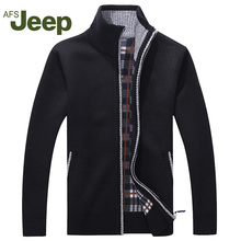 Afs JEEP New arrival Autumn Men's Warm Sweaters Warm Winter Pullover Mens Sweaters Casual Knitwear Fleece Velvet Clothing  60