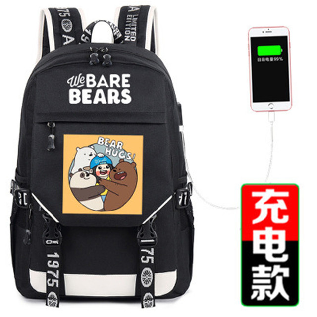 ae31a77537c1 US $31.19 10% OFF 2018 We Bare Bears Grizzly Panda Ice Bear Printing  Backpack Canvas School Bags for Teenage Girls USB Charging Laptop  Backpack-in ...