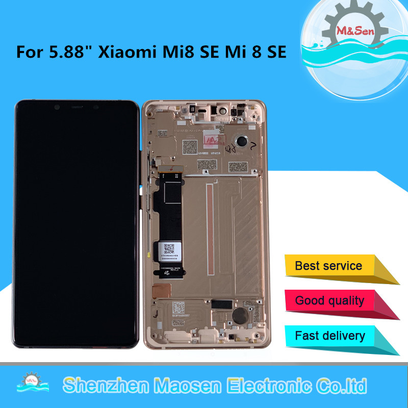 "5.88"" Original M&Sen For Xiaomi Mi8 SE Mi 8 SE MI8SE Super Amoled LCD Screen Display+Touch Screen Digitizer Frame For Mi 8SE LCD"