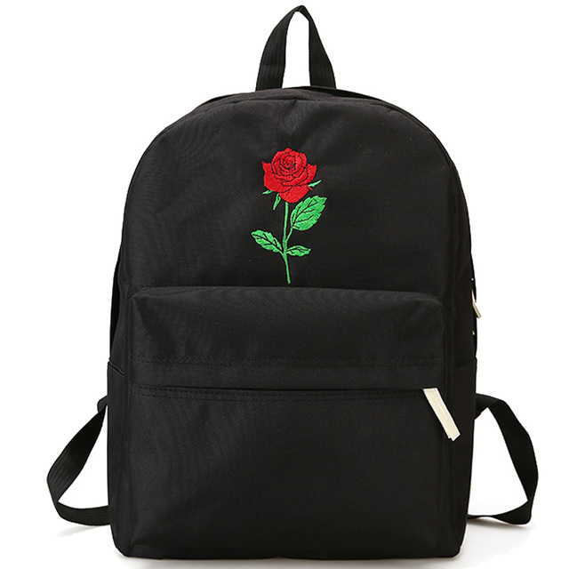 2d06fc33af76 2017 Men Canvas Heart Backpack Cute Women Rose Embroidery Backpacks for Teenagers  School Bags Rucksack Women s Travel Bags