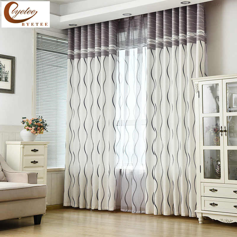 [byetee] Modern Curtain Fabrics Living Room Bedroom Curtain Jacquard Curtain Kitchen Curtains For Windows Doors Blackout