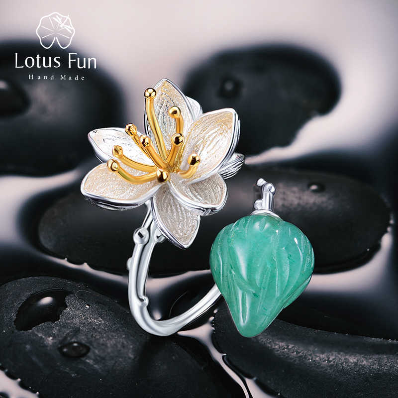 Lotus สนุก 925 เงินสเตอร์ลิงเปิดแหวนผู้หญิงสีเขียว Chalcedony หินธรรมชาติดอกไม้ Handmade Ladies เครื่องประดับ