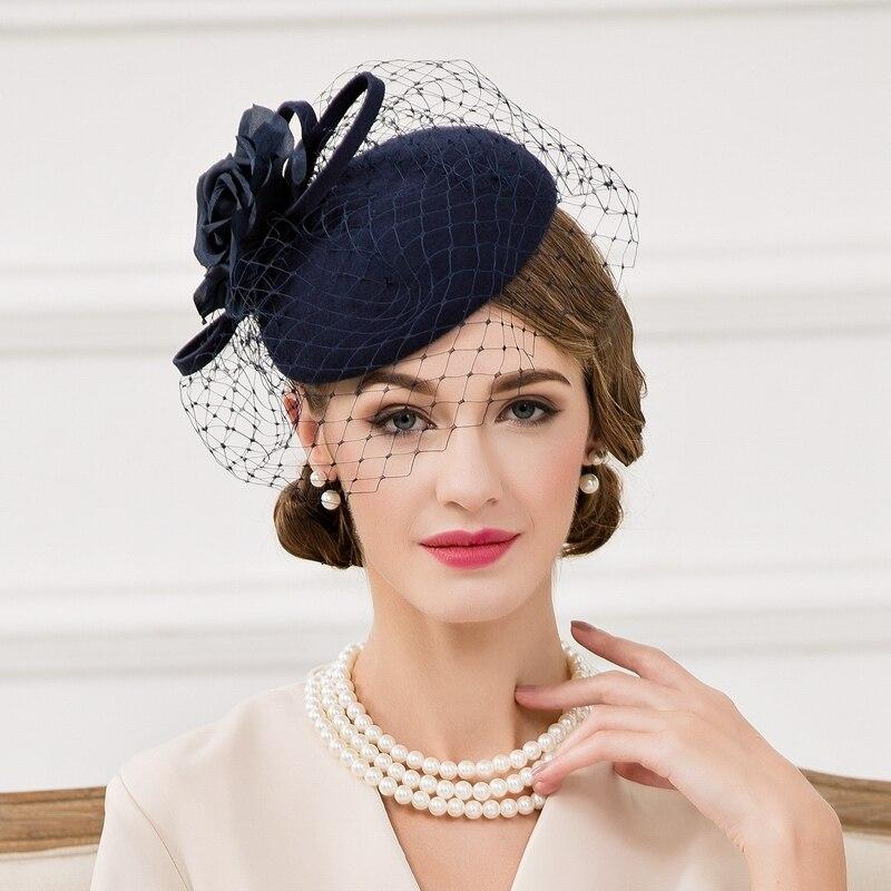 100% laine pilulier chapeaux avec voile dames bleu fascinateurs pour les femmes élégant fête de mariage Derby église Cocktail chapeau Fedora